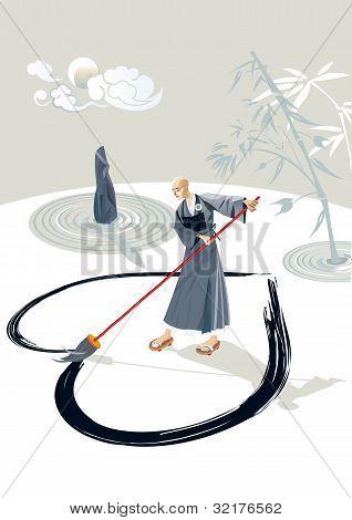 Zen Monk Drawing A Heart