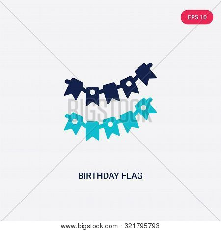 poster of two colored birthday flag vector icon from birthday party and wedding.