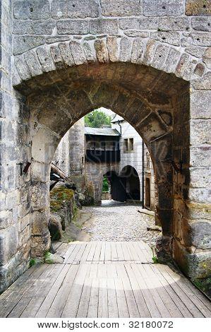 entrance to gothic castle - kost castle - czech republic