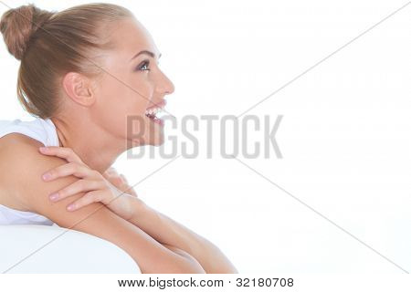 Closeup facial expression of a beautiful high-spirited woman