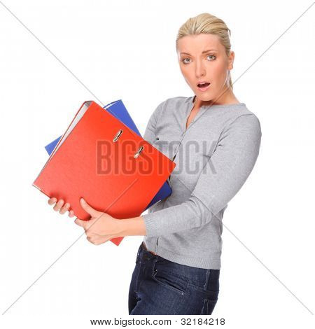 Full isolated portrait of a caucasian woman with folder