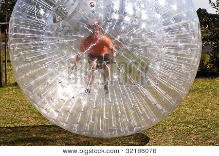 Child Has A Lot Of Fun In The Zorbing Ball