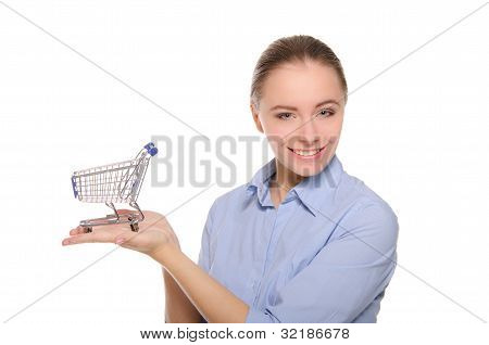 Empty Shopping Carts On A Female Hand