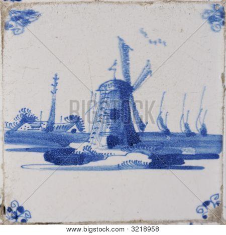 Typical Vintage Dutch Scene On Delft Blue Tile