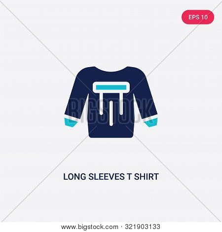 poster of two colored long sleeves t shirt vector icon from clothes.