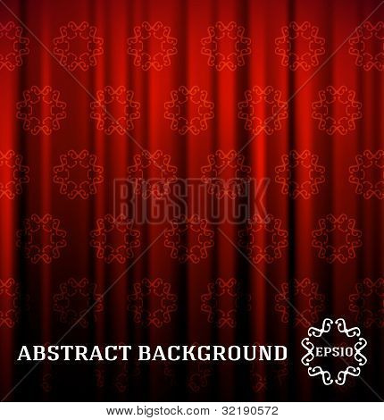 Red curtain with decor