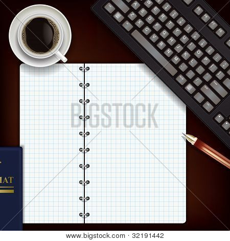 Office Desk With Coffee Keyboard And Notepad