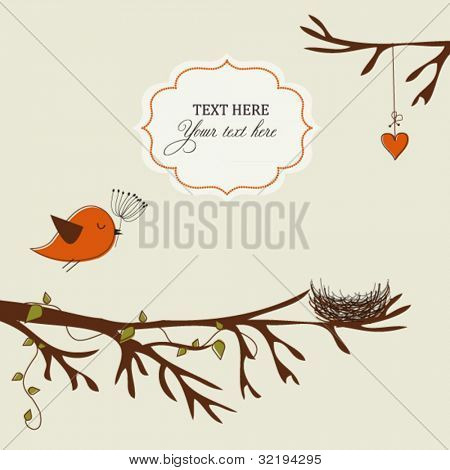 Card with bird and nest