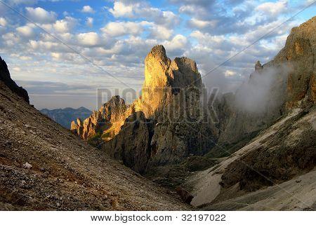 morning view of cima della madonna in pale di san martino - dolomiti italy