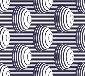 Hemispheres Lined Optical Illusion Seamless Pattern, Vector Repeat Tiling Op Art Background, Psyched poster