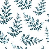 Hand Drawn Fern Leaves. Vector Seamless Pattern. Minimalistic Texture For Wallpaper, Pattern Fills,  poster