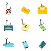 Phishing Icon Set. Flat Set Of Phishing Vector Icons For Web Design poster
