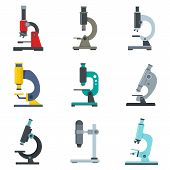 Microscope Icon Set. Flat Set Of Microscope Vector Icons For Web Design poster