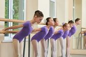 Beautiful Young Ballerinas Ballet Workout. Lovely Ballet Dancers Doing Exercises At Ballet Barre In  poster