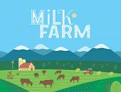 Hand Drawn Rural Nature Landscape, Milk Farm Lettering Flat Vector. Farming Mammal Herd On Mountain  poster