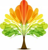 Multicolored Abstract Tree, Autumn Tree, Logotype Tree, Icon Tree, Red Yellow Orange Green, Symmetri poster