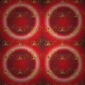Golden Element On Red And Pink Colors. Golden Floral Ornament In Baroque Style. Damask Seamless Patt poster