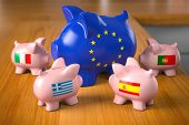 European crisis countries concept. Piggy bank in colors of EU european union flag as symbol of europ poster