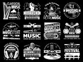 Vector Musical Instrument Stores And Shops, Symphonic Orchestra Harp And Piano, Karaoke Club, Live M poster