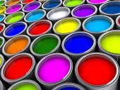 stock photo of paint pot  - Colorful paint cans on white  - JPG
