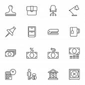 Bank Office Line Icons Set. Linear Style Symbols Collection, Outline Signs Pack. Vector Graphics. Se poster