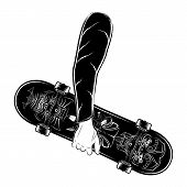 Skateboard Vector Illustrations For T Shirt Print, Textiles, Prints, Other Uses. Stylish Skater. Coo poster