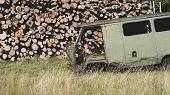 Old Minibus Thrown In The Grass Against The Background Of Trunks Of Felled Trees In Summer poster