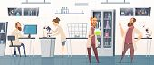Scientific Laboratory. Interior Modern Chemical Pharmaceutical Medical Lab With People Working Innov poster