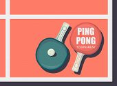 Ping Pong Racket With Ball. Table Tennis Sport Equipment Poster Vector Illustration For Table Tennis poster