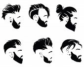Set Of Hairstyles For Men. Collection Of Black Silhouettes Of Hairstyles And Beards. Vector Illustra poster
