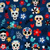Day Of The Dead Pattern. Dia De Los Muertos Mexican Festival Seamless Color Pattern With Dead Colors poster