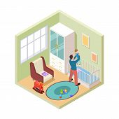 Nursery Interior. Isometric Father And Son In Kids Room. Vector Nursery Room Furniture. Parenthood A poster