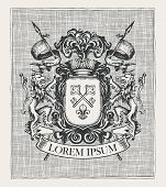Vector Heraldic Coat Of Arms In Vintage Style With Knightly Shield, Spears, Crown, Lions, Ribbon, Ke poster