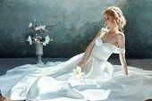 Luxurious White Wedding Dress On The Girls Body. New Collection Of Wedding Dresses. Morning Bride,  poster