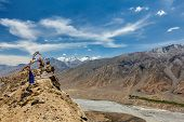 View of Spiti valley in Himalayas. Spiti valley, Himachal Pradesh, India poster