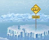picture of polar bears  - Danger sign on an ice  warning of polar bears - JPG