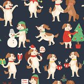 Christmas Dog Seamless Pattern. Vector Illustration Of Cute Cartoon Dog In Red Santa Hat And Snowman poster