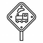 Railway Road Sign Icon. Outline Railway Road Sign Vector Icon For Web Design Isolated On White Backg poster
