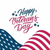 Usa Veterans Day Greeting Card With United States Waving National Flag And Hand Lettering Text Happy poster