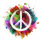 White Peace Hippie Symbol On Colorful Background poster