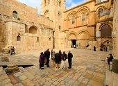 JERUSALEM - FEBRUARY 23: Crowds at the Church of the Holy Sepulchre February 23, 2012 in Jerusalem,
