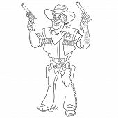 Colouring Page. Cute Cartoon Cowboy, Retro American Sheriff Firing A Gun. Childish Design For Kids C poster