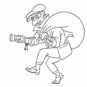 Colouring Page. Cute Cartoon Thief Running With A Bag, Criminal Housebreaker. Childish Design For Ki poster