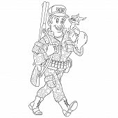 Colouring Page. Cute Cartoon Hunter Or Forester With A Cute Funny Squirrel On His Shoulder. Childish poster