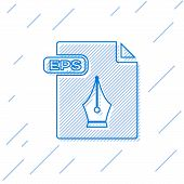 Blue Line Eps File Document. Download Eps Button Icon Isolated On White Background. Eps File Symbol. poster