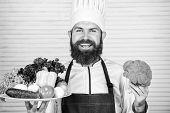 Fresh Harvest Vegetables. Choose Best Ingredients. Man Happy Presenting Excellent Vegetables. Organi poster