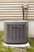image of air conditioning  - A residential central air conditioning unit sitting outside - JPG