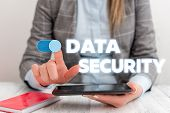 Conceptual Hand Writing Showing Data Security. Business Photo Showcasing Confidentiality Disk Encryp poster