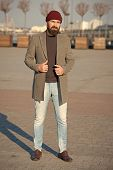 Stylish Casual Outfit For Fall And Winter Season. Menswear And Male Fashion Concept. Man Bearded Hip poster