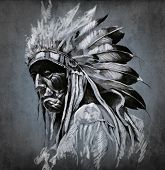 picture of indian chief  - Tattoo art - JPG